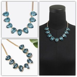 J. Crew blue crystal teardrop statement Necklace